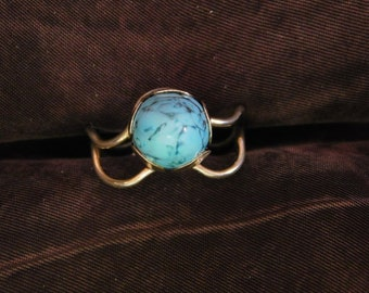 Domed Turquoise & Sterling Ring by Beau Sterling - Size