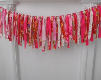 bohemian garland shabby decor boho decor gypsy garland party decoration  boho garland rag garland patterned fabric garland nursery decor 3ft
