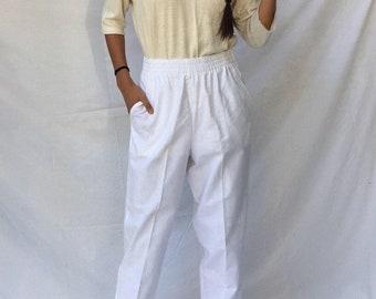 80s white woven pants / baggy pants / drawstring pants / high waisted pants | s m