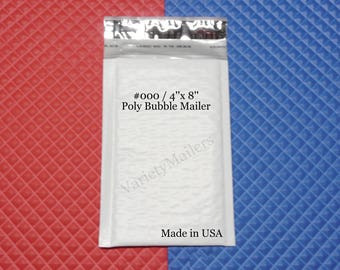 """28 Poly Bubble Padded Envelope Mailers #000 4""""x 8"""" Self-Sealing ~ Free Shipping ~ Made in USA!"""