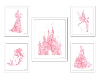 Coral Pink Princess print, Disney princess, princess set, Princess watercolor art, pink castle, Cinderella, Little Mermaid, Tinkerbell