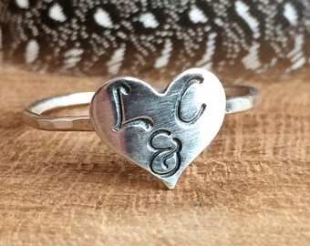 Heart Initial Rings - Sterling Silver Stackable Rings - Gifts For Girlfriend - Custom Initial Jewelry - Personalized Couples Ring
