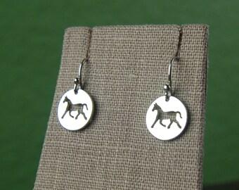 Horse charm earrings in sterling silver, equestrian jewelry, horse jewelry, silver horse charm