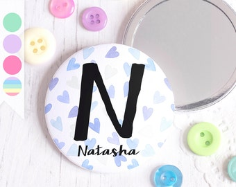 Confetti Heart Pattern - Personalised Pocket Mirror - Custom Initial Name Monogram Gift