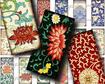 Asian Ornament (2) Digital Collage Sheet - Ornamental Art from China - 30 different Domino 1x2 for jewelry and craft  - See Promo Offer