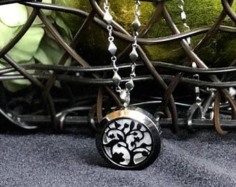 Beautiful Tree Of Life Essential Oil Diffuser Necklace, Essential Oils Or Perfume - Silver Necklace For Women Tree Of Life - Gift