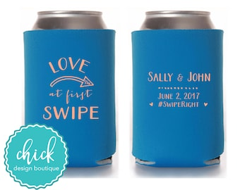 Love at First Swipe Online Dating Custom Hashtag Cooler Personalized Wedding Favor Party Gift Anniversary Favor Engagement Favor 5D222