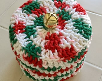 Christmas Holiday Toilet Paper Cover Crochet Red Green White Cotton Yarn