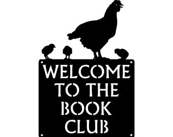 Hen and Chicks Custom Sign - Welcome Sign - Metal - 12 inches wide