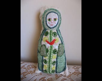 The Green Lady, Hand Embroidery, Ornament, Doll, Plush, Decoration, Green Dress, Red Bird, Cardinal, Folk Art, Emerald Green