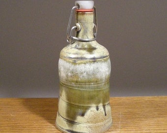 Maple Syrup Bottle , Water Bottle , Liquor Bottle , Swing Top Seal , Small Growler , Handmade Stoneware