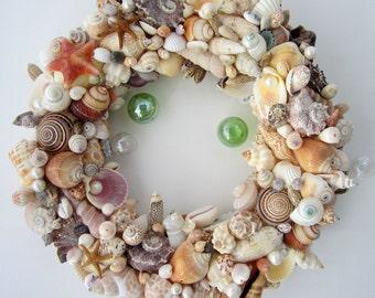 Beach Decor Seashell Wreath, Nautical Decor Shell Wreath, Coastal Wreath, Beach Wreath, Beach House Decor, Coastal Home Decor  #CSW100