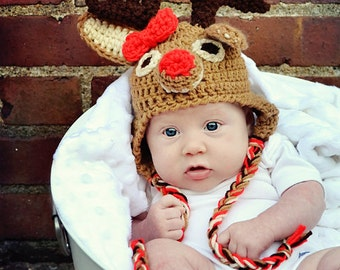 Rudolph hat, Red-nosed Reindeer hat. Newborn through adult sizes available.