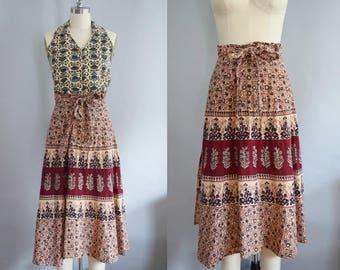 """1970s Pakistani Wrap Skirt   Size Small   26-28"""" Waist"""