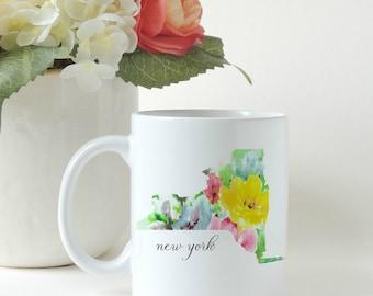 State Mug, Floral Mug, Home Mug, New Home gift, Moving Gift,Yellow Floral, Watercolor Floral print, Coffee Mug, Custom Mug, Personalized Mug
