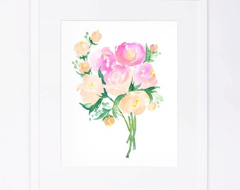 Pink & Green Peony Floral Watercolor Bouquet Print