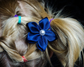 Hair Bow - Navy Grosgrain 5 Petal Hair Flower