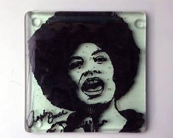 Angela Davis Fused Glass Coaster, Activist Coasters, Icon Coasters