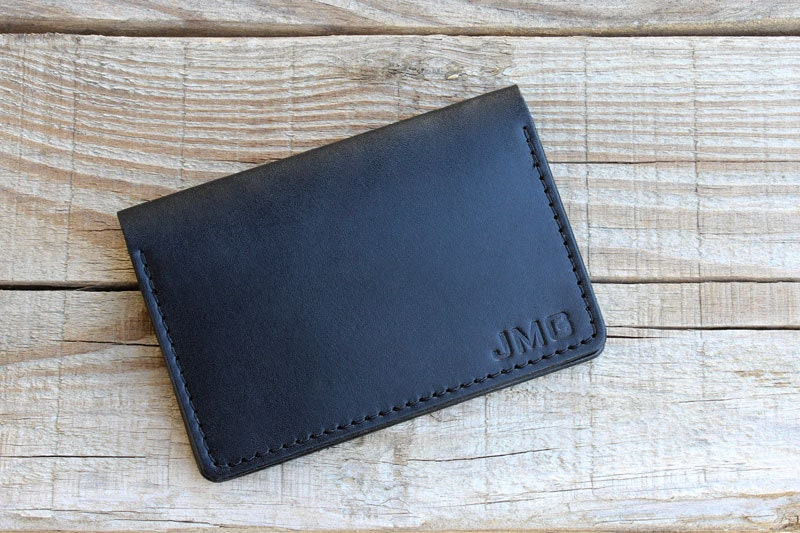 Men's Leather Wallet, Custom Personalization with Name or Initials Available, Minimalist Two Pocket Design, Christmas Gift for Men Husband