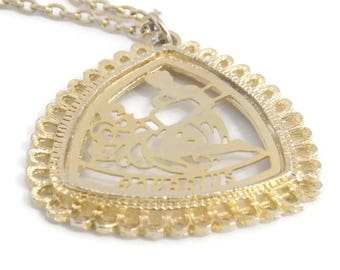 Gold Tone Aquarius Pendant Necklace, Aquarius Necklace, Zodiac Necklace, Zodiac Jewelry, Gold Tone Necklace, Zodiac Pendant