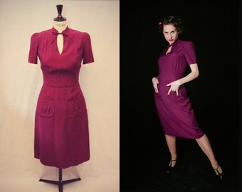 1940s dress/ purple dress/ mandarin collar/ 40s reproduction/ WW2