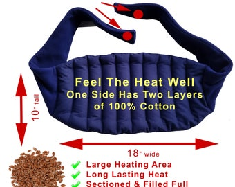 Hotter Cotton Microwaveable Lower Back Heating Wrap With Straps, Heated Back Wrap, Back Pain Relief, Blue, Flax Seeds Filled