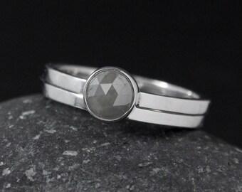 Grey Rose Cut Diamond Ring - Choose Your Setting - Matching Band