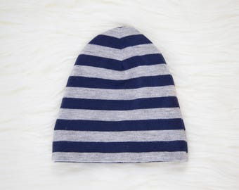 Navy and Grey Stripe Baby Hat | Cuffed Hat | Slouchy Hat | Baby, Toddler Beanie | Slouchy Beanie | Hospital Hat | Baby Shower Gift