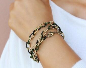 Green Beige Wrap Fabric Chain Bracelet Fabric Link Bracelet Green Beige Bracelet Chain Bracelet Layers Bracelet Everyday Bracelet Gift