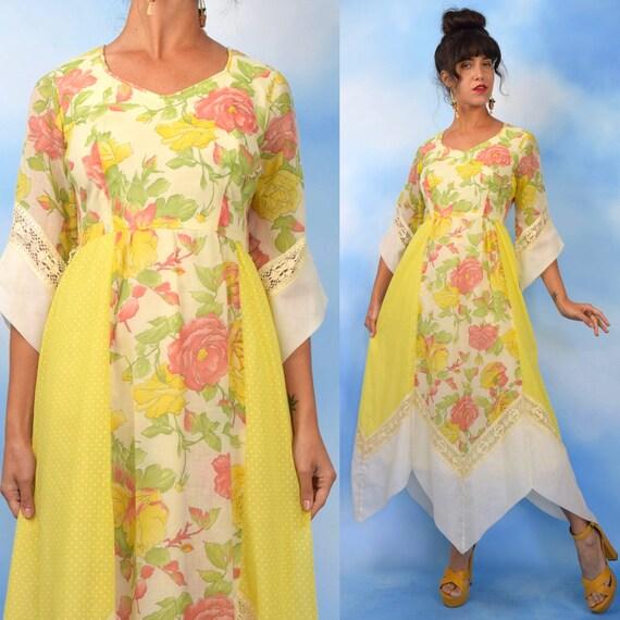 Vintage 60s 70s  Yellow Floral and Swiss Dot Cotton Voile Handkerchief Hemline Maxi Dress (size medium)