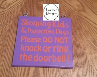 Doorbell Sign, Sleeping baby and protective dogs, do not knock or ring doorbell, sign for the door