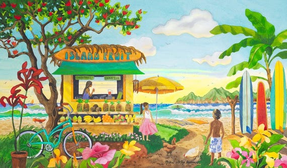 Tropical Fruit Stand on the Beach in Hawaii