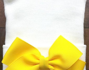 Yellow Hospital Hat  - Newborn Bow Hat - Yellow Bow Hat - Baby Girl Hat - Newborn Baby Girl Hat  - Yellow Baby Hat - Bow Hospital Hat