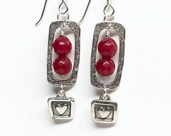 Heart Charm Red and Silver Earrings