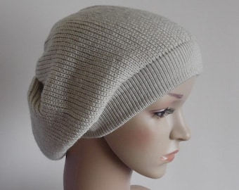 Women's beret, slouchy beanie hat, knitted beret, fall hat, stylish tam, baggy beret, knit baggy beanie, made from acrylic