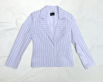 Vintage  jacket • Womens black and white striped  jacket • Summer jacket • Cropped jacket • Womens fashion • Womens blazer • Womenswear