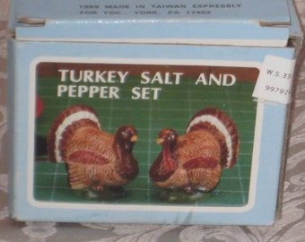 Vintage 1989 Turkey Salt and Pepper Set  Made for YDC
