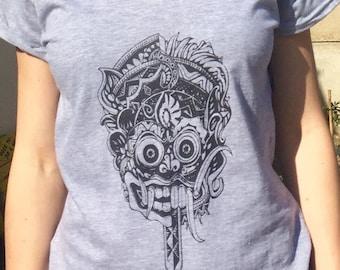 Gray woman mask Bali T-Shirt screen print