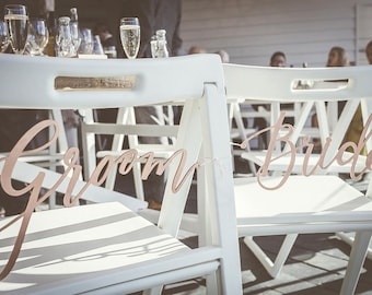 Bride and Groom Chair Signs - Wedding Chair Signs - Wooden Chair Signs - Calligraphy Chair Signs - Bride Groom Signs - Wedding Chair Decor