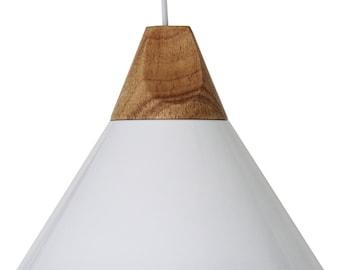Elias Wooden/Metal Pendant Light - White or Black