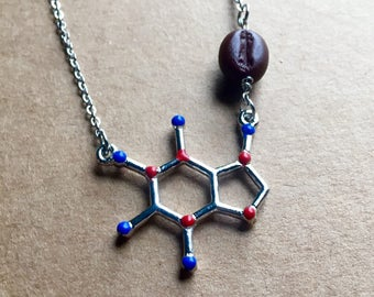 Caffeine Molecule Necklace, Caffeine Necklace, Molecule Necklace, Coffee Lover, Caffeine, Chemistry Necklace, Biology, Science Necklace
