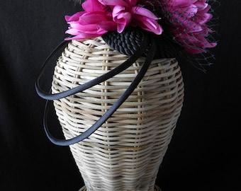 Vivien headpiece. Black and fuchsia fascinator.