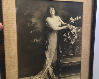 Framed, Autographed  Print of Silent Screen/Broadway Actress Lenore Ulric