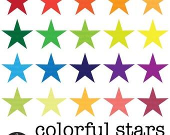 Digital Clip Art - 20 Colorful Stars