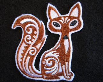 Embroidered Fox Iron On Patch, Fox Patch, Fox, Fox Applique, Embroidered Applique, Embroidered Fox, Iron On Fox