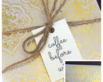 Gold & White Design, Set of 4 Coasters