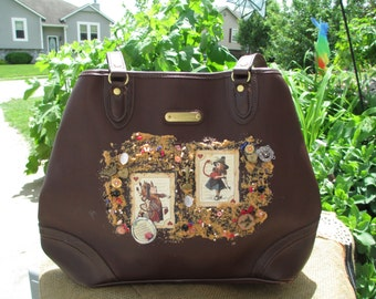 Alice in Wonderland & Queen of Hearts Brown Purse free shipping