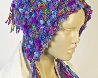 Blue Wool Bonnet Blue Knit Hat No Hat Hair Handknit Wool Hat Cute Winter Hat Girl's Wool Hat Woman's Wool Hat Tasseled Hat Purple Wool Hat