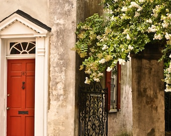 Downtown Historic Charleston South Carolina, Quaint Red Door, Architecture Fine Art Photography