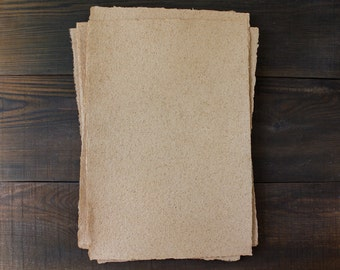 Mustard shade paper, homemade paper, eco friendly paper, paper sheets for bookbinding, deckle edge (code#9a)